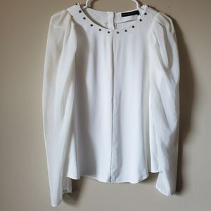 Zara long sleeve white blouse size M